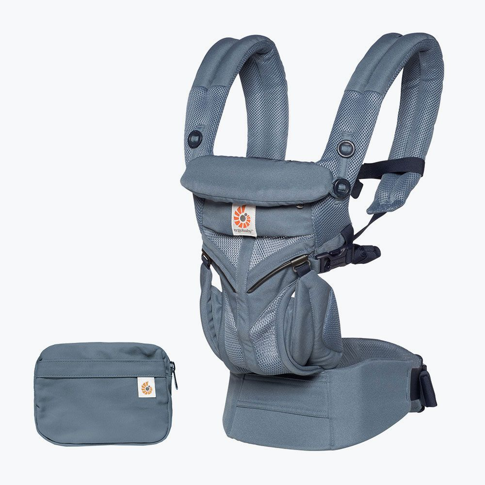 Ergobaby Omni 360 cool mesh in oxford blue and detachabe pouch