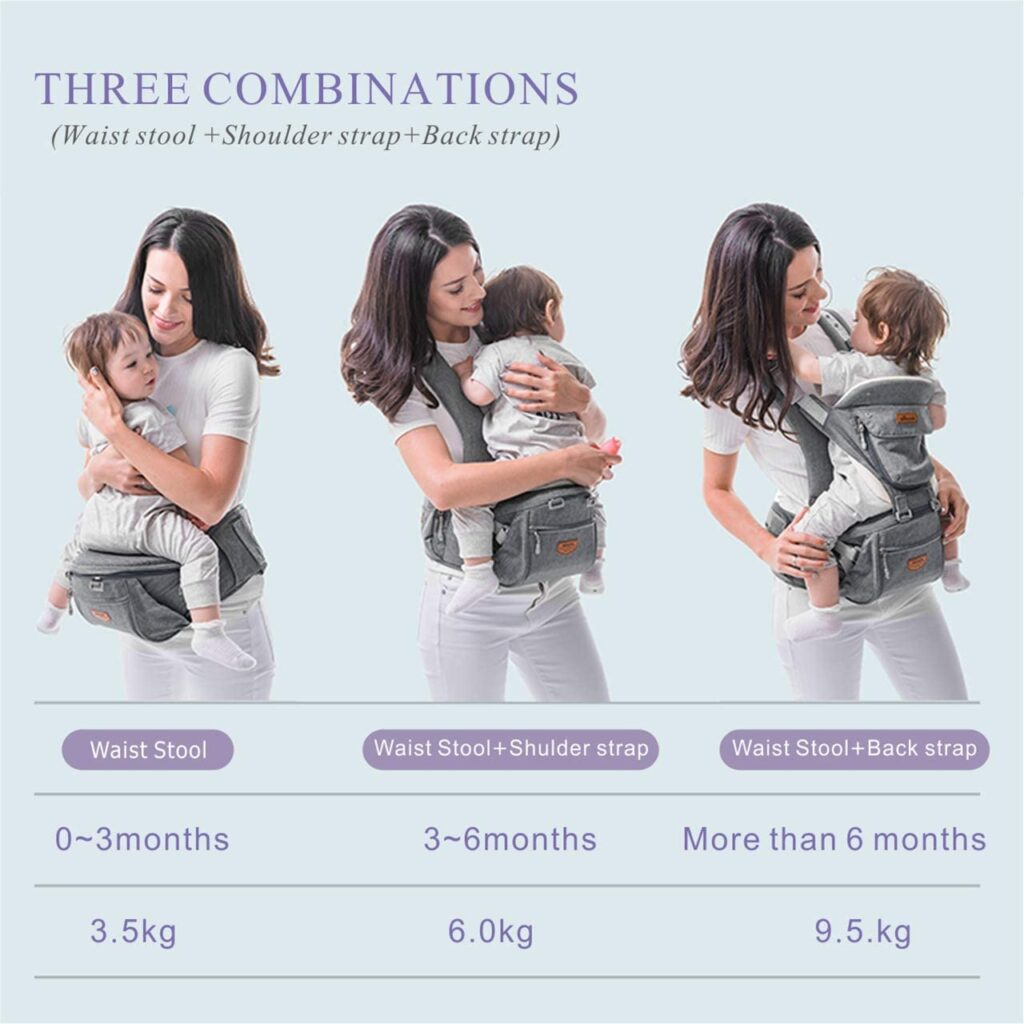 Amazon Sunveno hip seat baby carrier - showing 3 carry positions