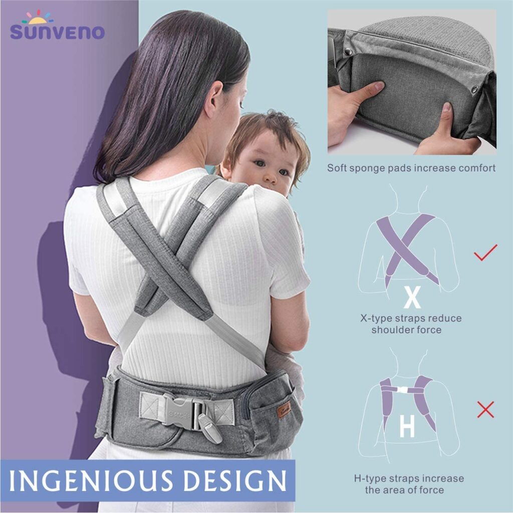 Amazon Sunveno hip seat baby carrier - back view showing how the straps cross over the shoulders