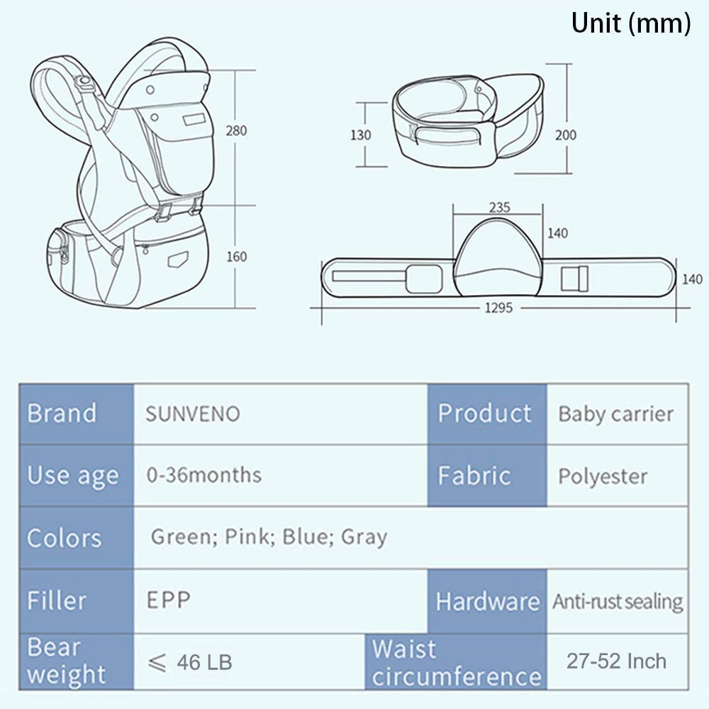 Spec of Amazon Sunveno hip seat baby carrier - measurements, age, fabric, available colours, weight limit