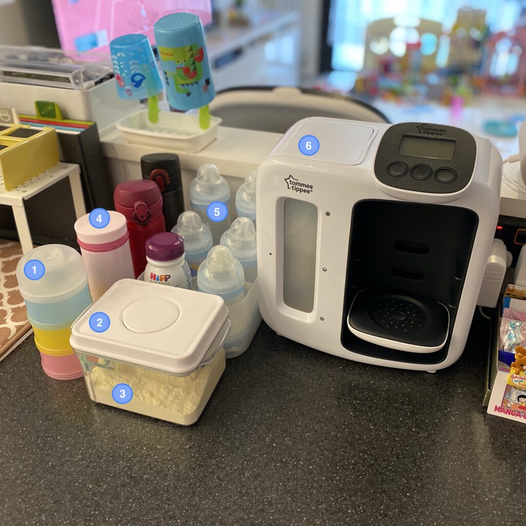 Author's bottle station for newborn with numbered items
