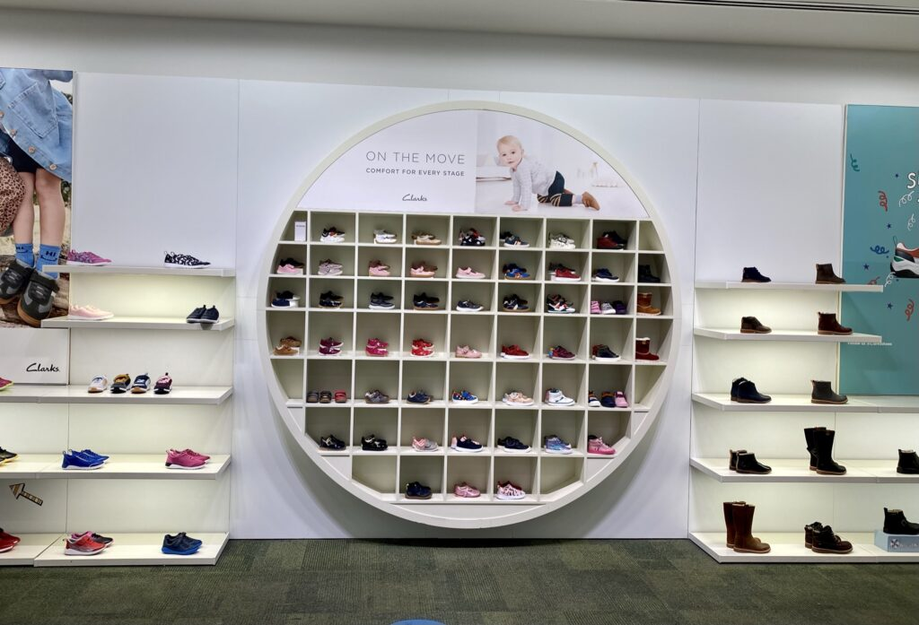 Clarks Store baby section at Westfield White City London UK