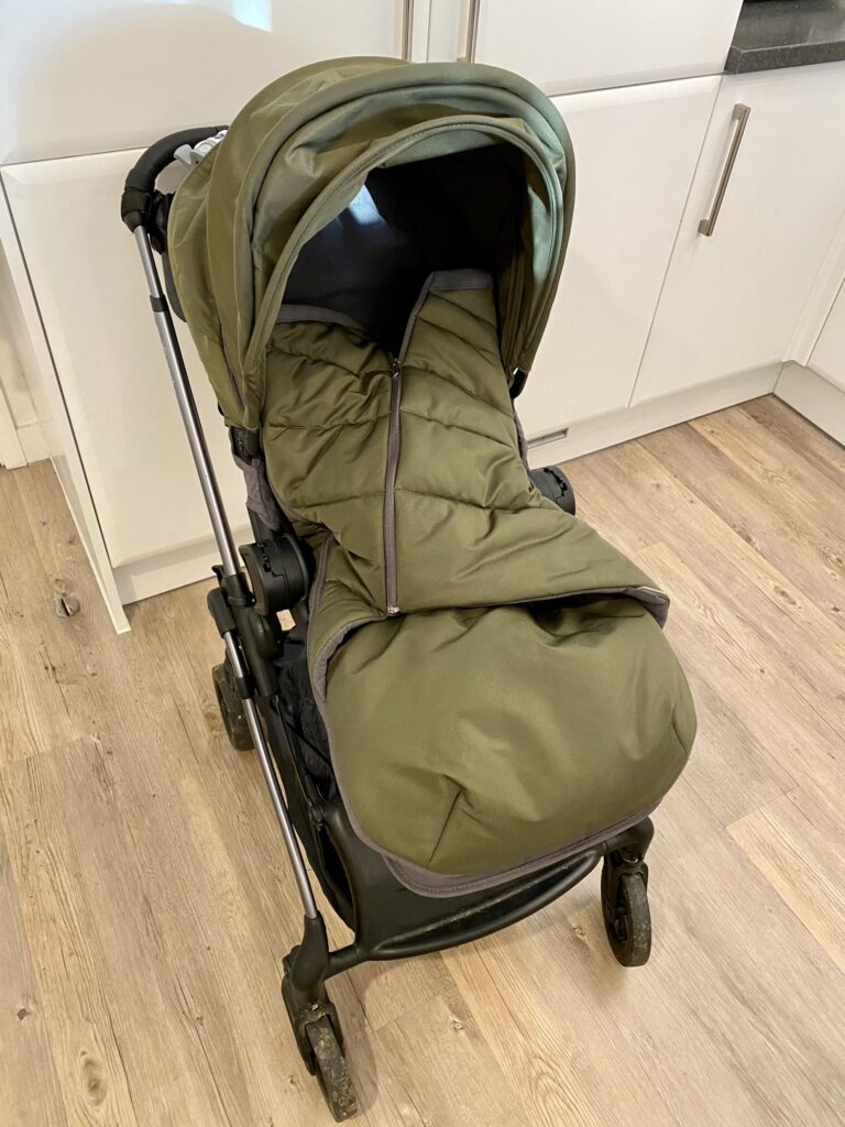 Author's iCandy Raspberry pushchair with footmuff closed