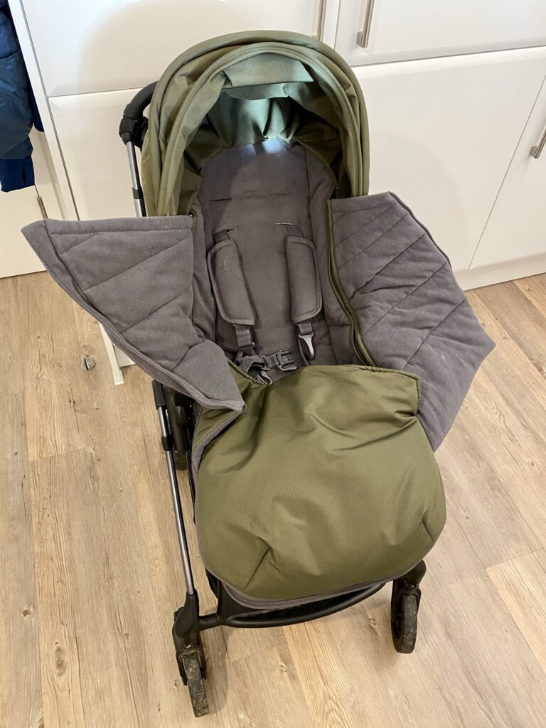 Author's iCandy Raspberry pushchair with footmuff open