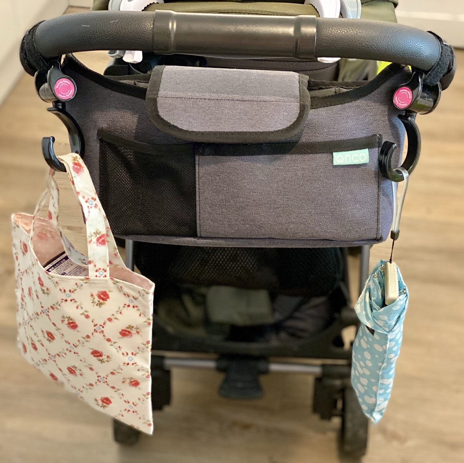 Author's Amazon Happy Mummy hook and stroll - 2 hooks attached to buggy handle