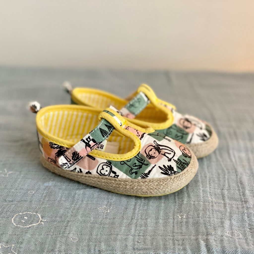 Marks and Spencer jungle print pram sandals in yellow mix