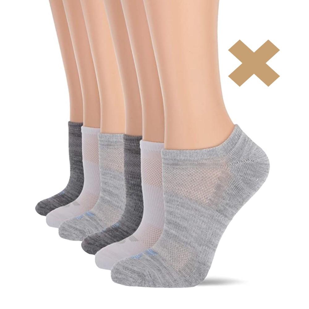 several pairs of no show socks with an x symbol