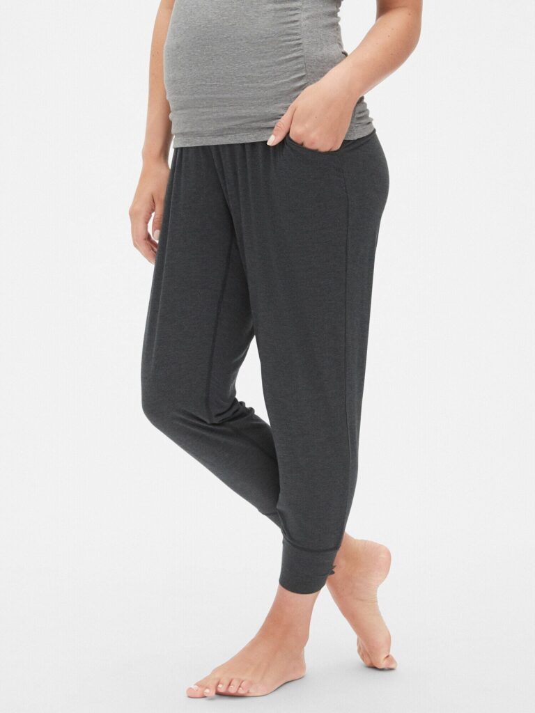 Model wearing Gap modal maternity sleep pants in charcoal heather - front view