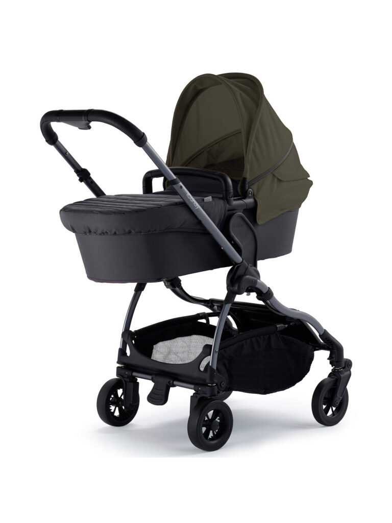 iCandy Raspberry Carry Cot on frame in Kings Road Khaki - side view