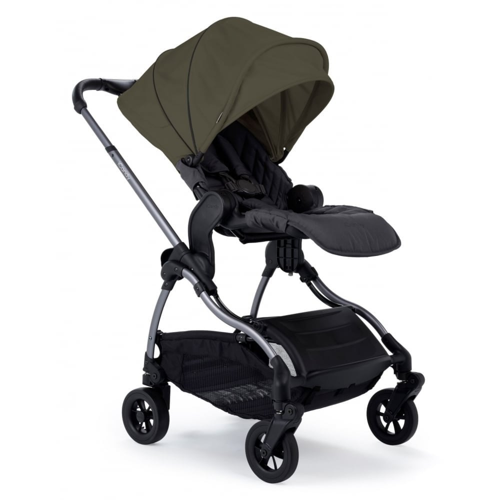 iCandy Raspberry Pushchair in Kings Road Khaki - side view with elevators attached