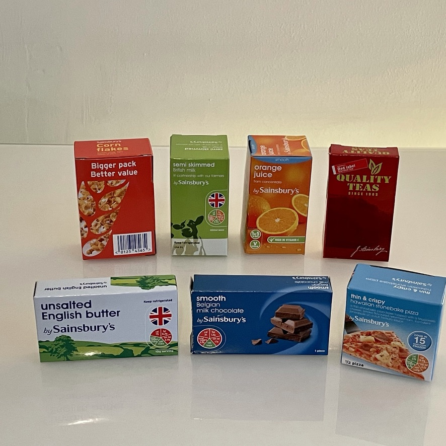 The cartons from the Chad Valley 120 piece play food set
