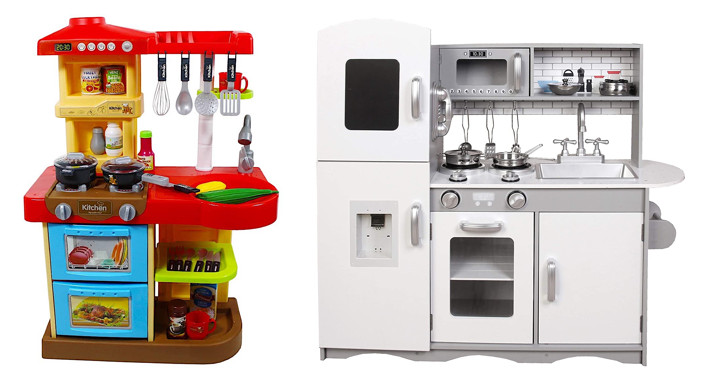 deAO toy kitchen and Kidoz toy kitchen, both from Amazon