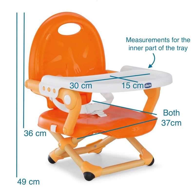 Chicco Pocket Snack Booster Seat in mandarino orange with dimensions