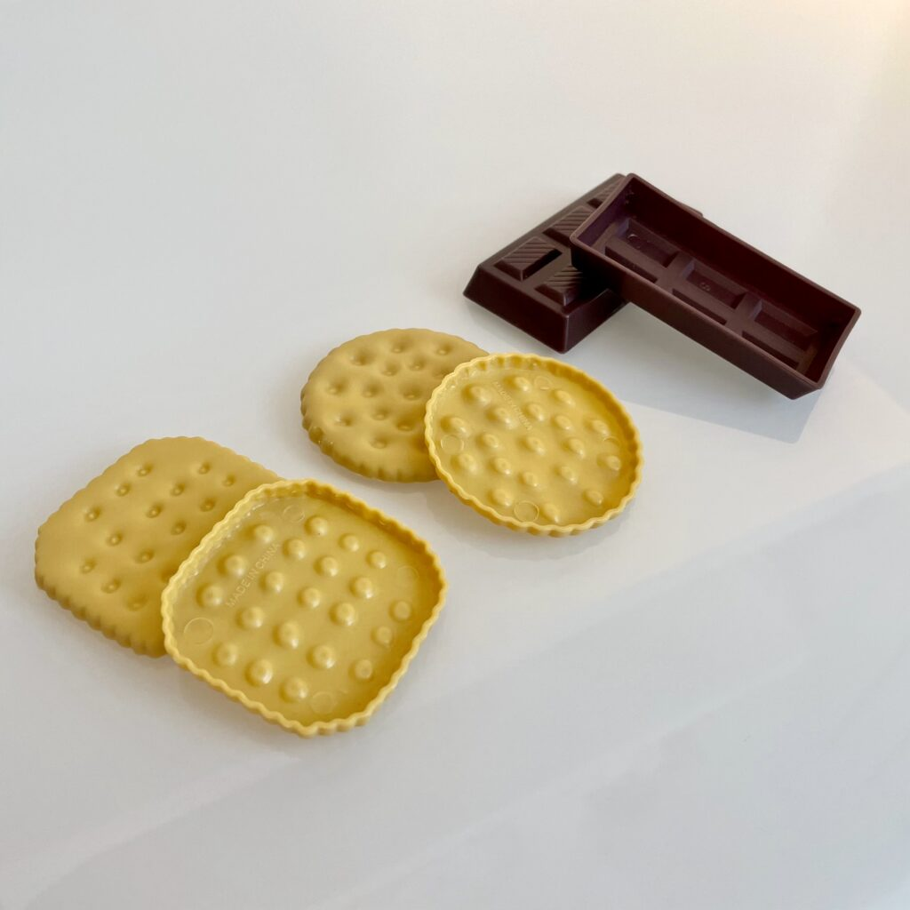 Cookies and chocolate from the Chad Valley 120 piece play food set