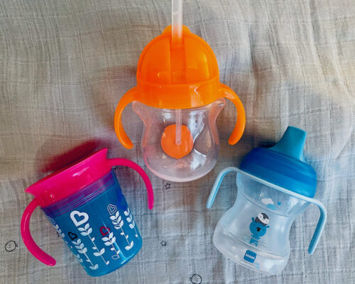 Munchkin cup and straw bottle, MAM beaker
