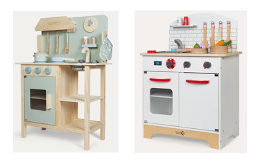 Little Dutch toy kitchen and Classic World toy kitchen, both from Kidly