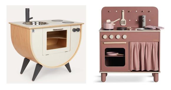 Sebra toy kitchen and Flexa Rose toy kitchen, both from Scandiborn