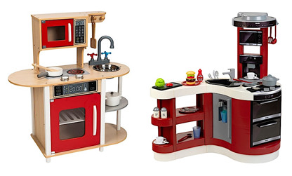 Little Chef toy kitchen and Miele toy kitchen, both from Smythstoys
