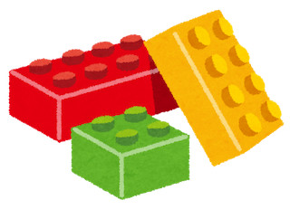3 lego blocks illustration