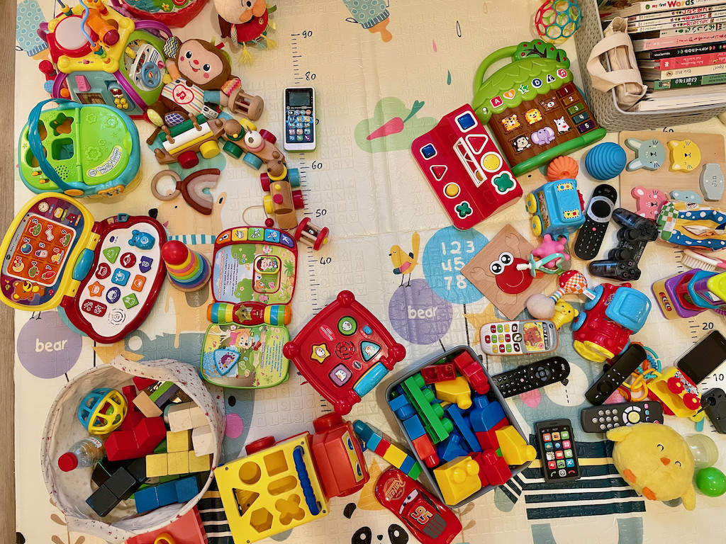 Close up of lots of toys