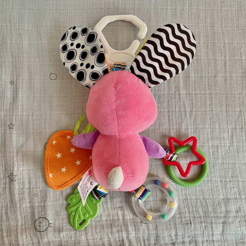 Dreamsdox soft rabbit toy rattle teether back view
