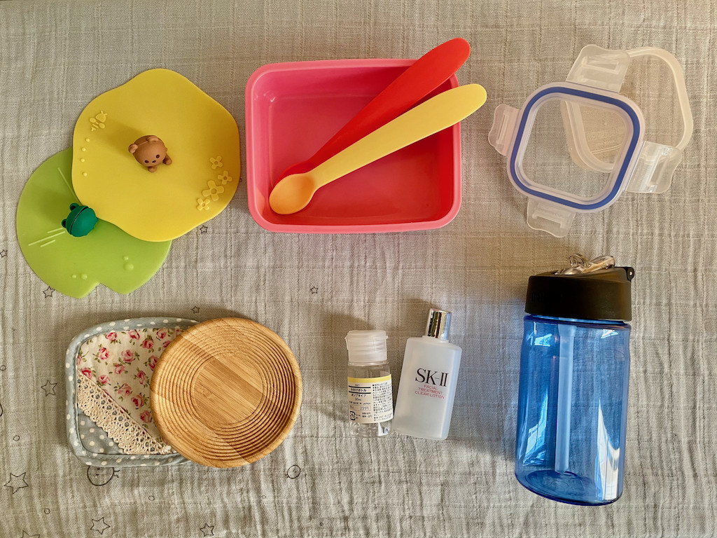 Various items from around the house that baby likes to play with