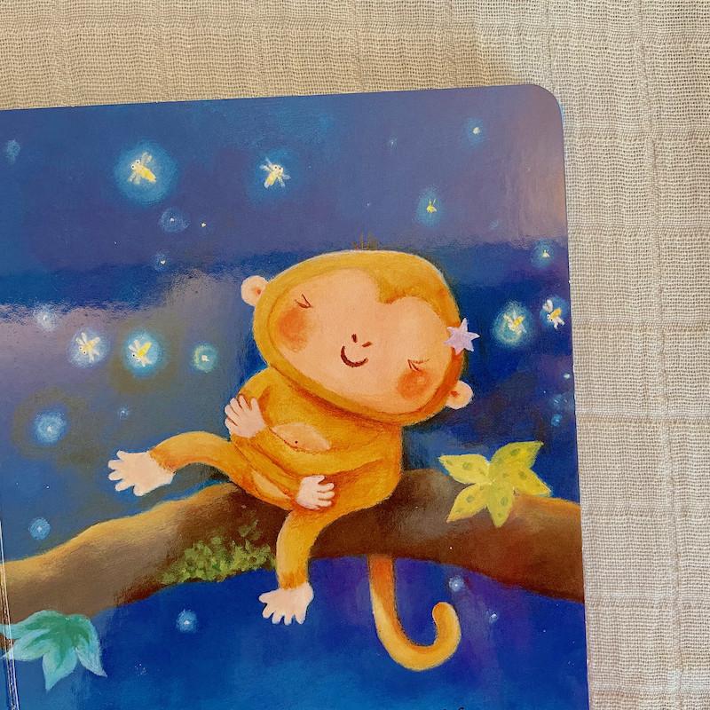 Night Monkey Day Monkey Board Book open