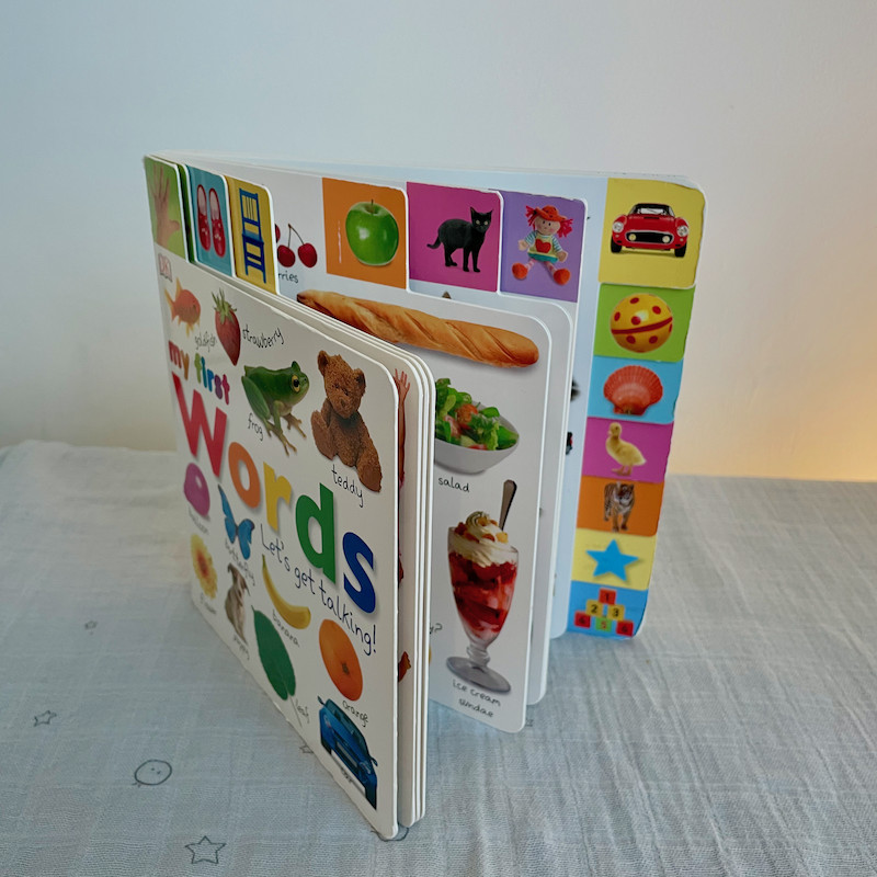My First Words Lets Get Talking Board Book open