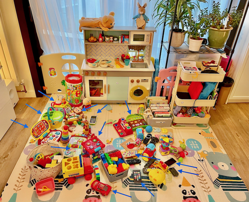 Play area showing lots of eletronic toys with arrows