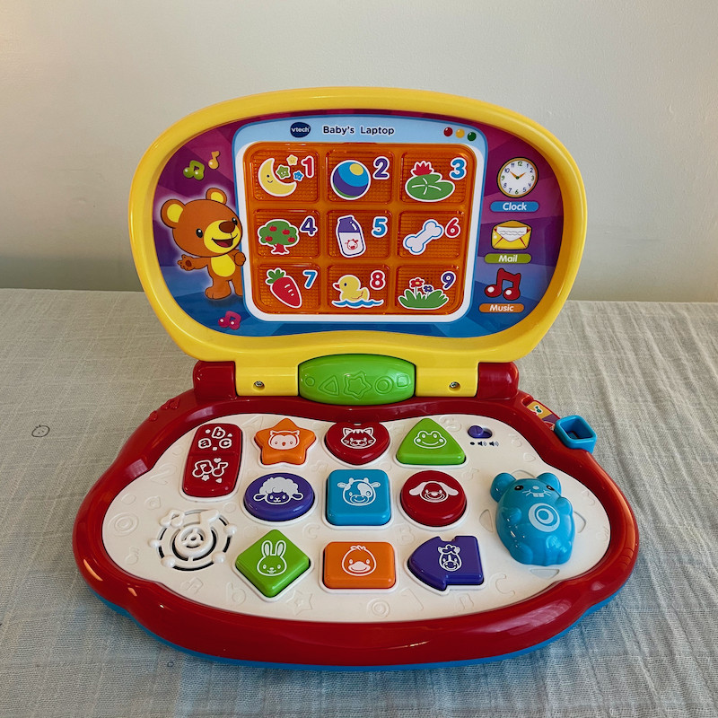 Vtech Baby's First Laptop Open with multiple toys