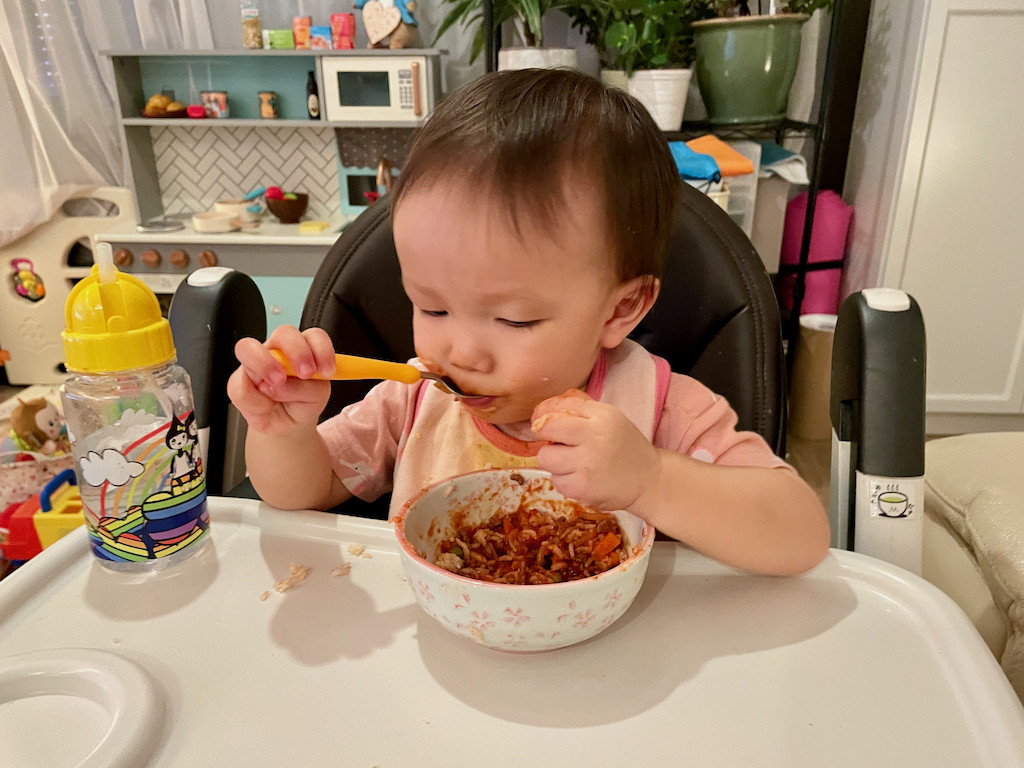Boy eating meat sauce 1