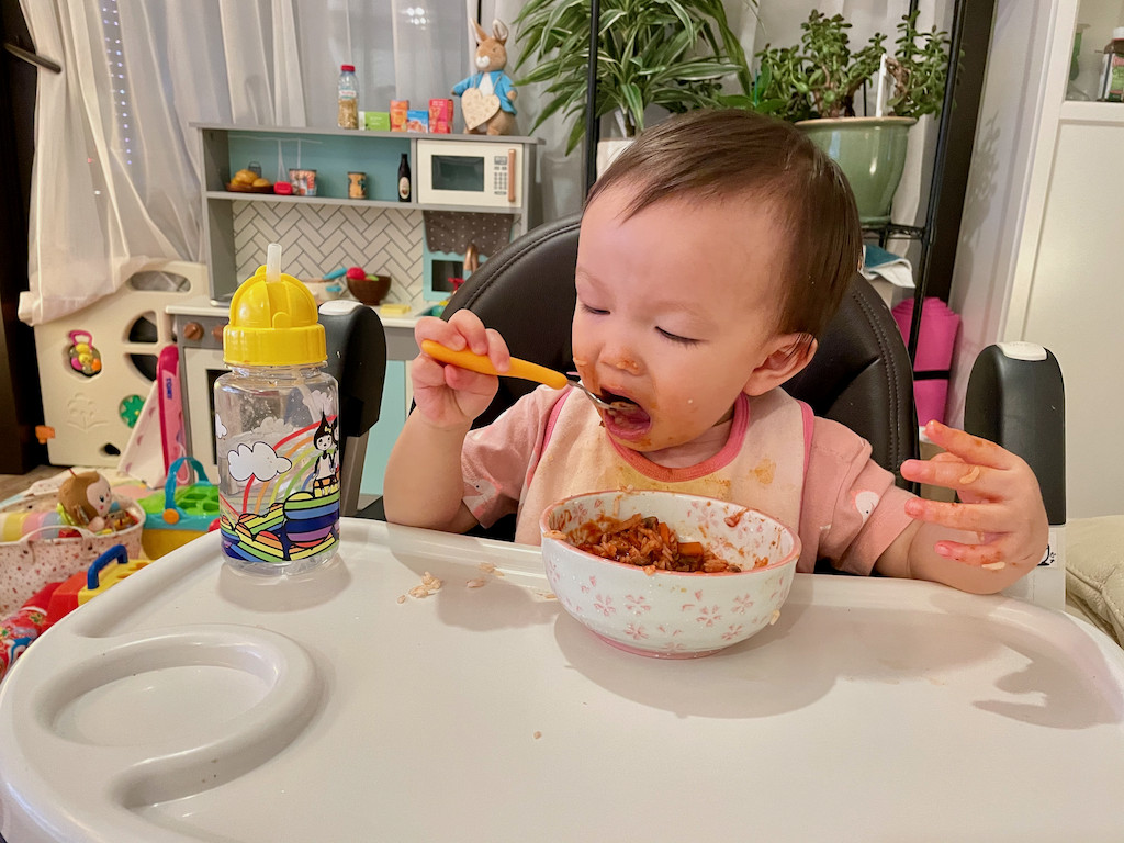 Boy eating meat sauce 2
