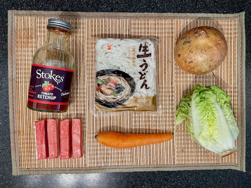 Ingredients for Ketchup Udon