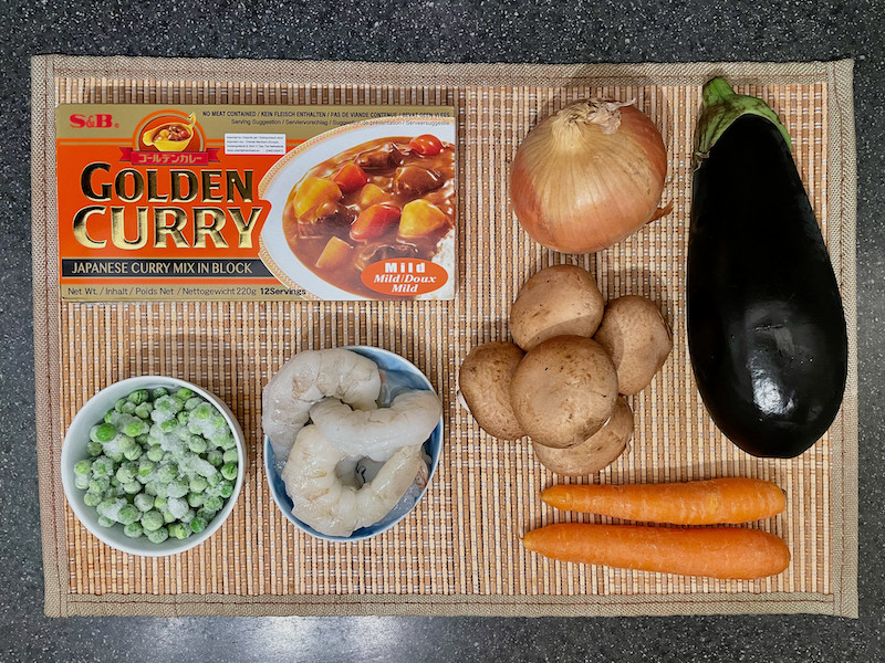 Japanese Curry Ingredients - onion, aubergine, peas, prawns, mushrooms, carrots, curry cubes