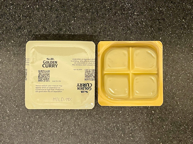 Showing S&B curry blocks pack inside, sealed