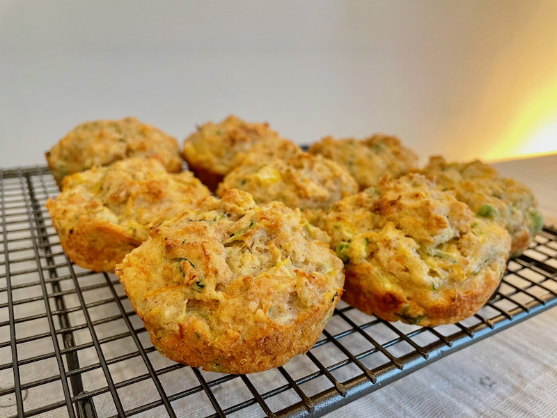 Veg and cheese savoury muffins side view