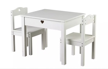Argos White Wood Table and Chairs Set