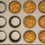 Baked ABC muffins in muffin tin