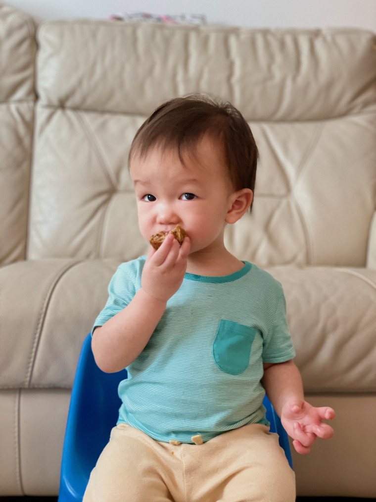 Boy eating ABC muffin 2