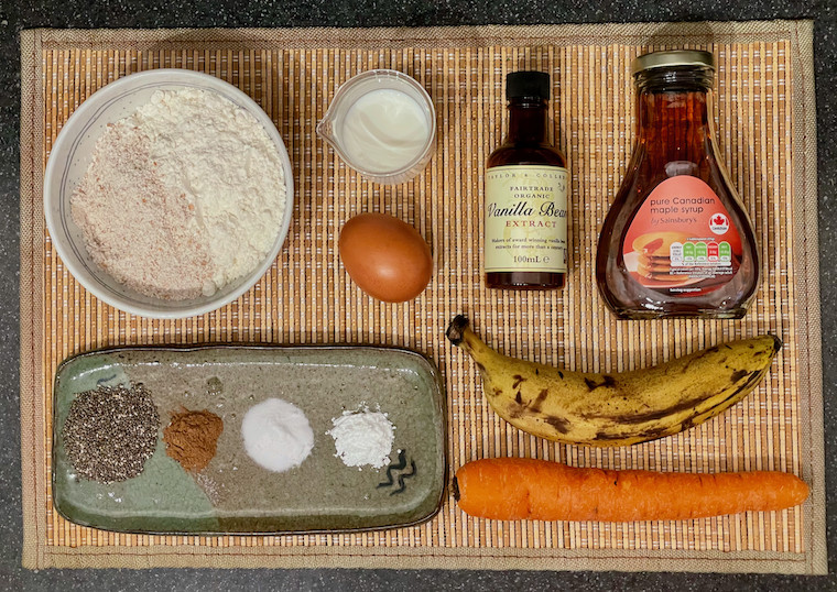 Ingredients for apple banana carrot muffins