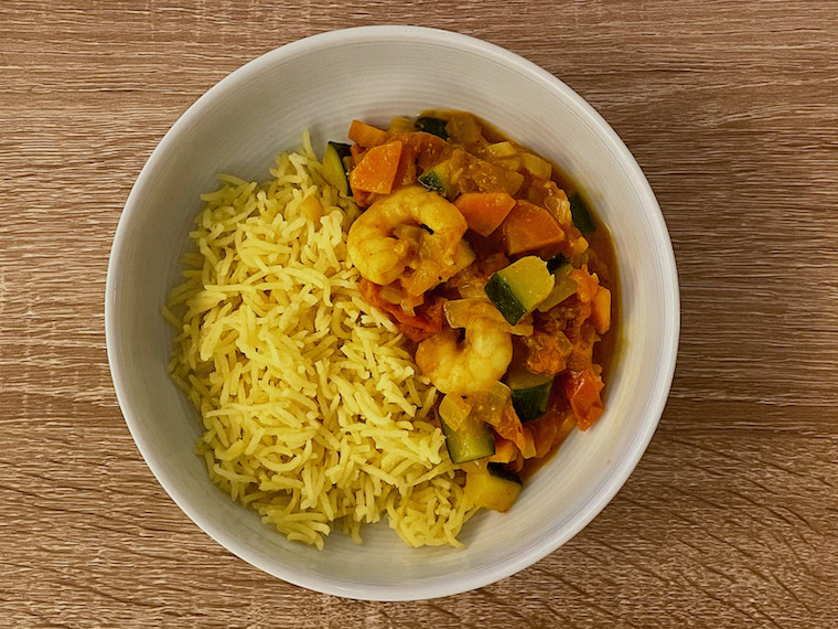 3 spice curry with prawns