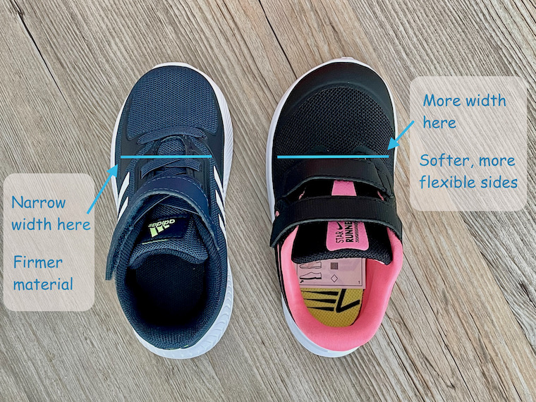 Comparing Adidas and Nike trainers and how kids shoe sizes can differ