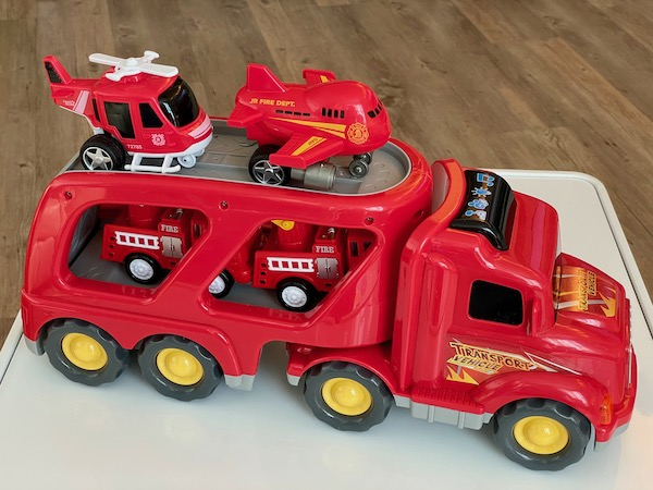 Fire Engine toy with little toys inside