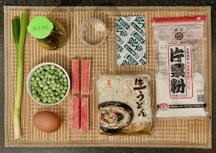 Ingredients for Udon with seafood sticks and egg