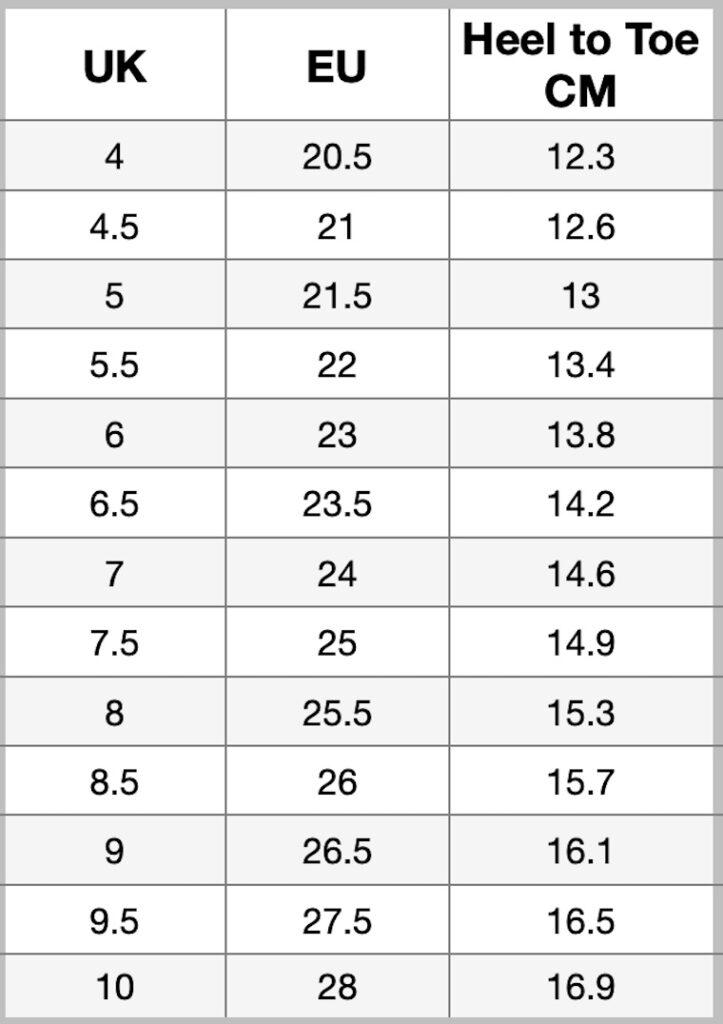 M&S Kids Size Chart